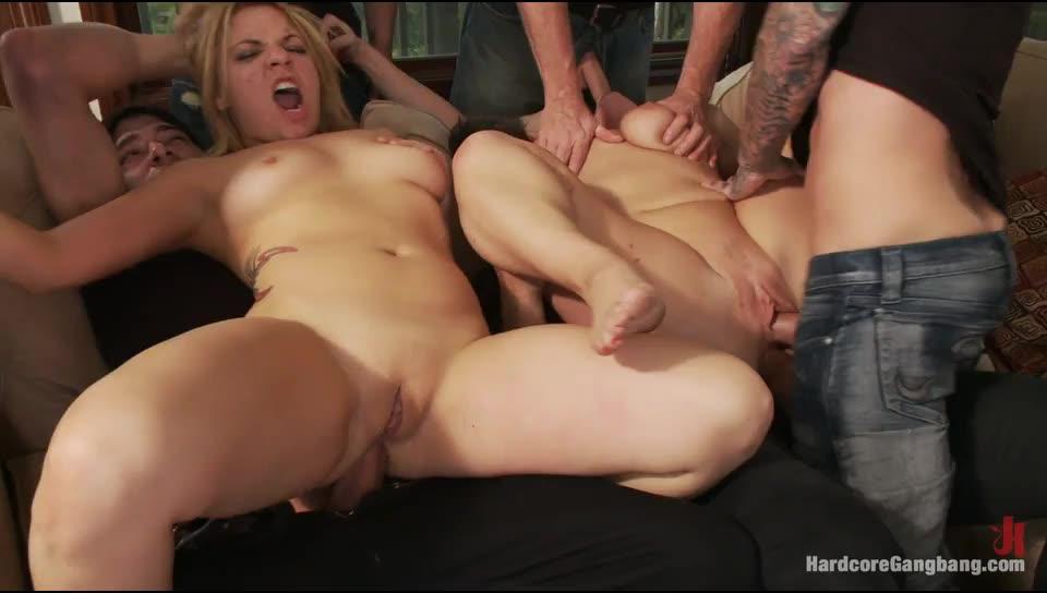 [HardcoreGangbang / Kink] Slutty Step-Sisters get Gangbanged by 8 Men - Vicky Vixen, Andrea Acosta (GangBang)/(BDSM)