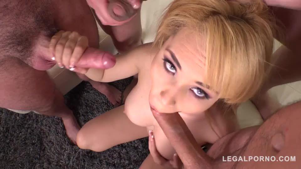 Blonde group sex addict DAPed balls deep by three veiny dicks (LegalPorno) Screenshot 6