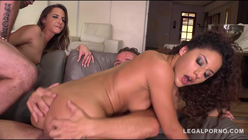 Big Booty Anal Nymphos get Rocked by 4 Big Cocks (LegalPorno) Screenshot 1
