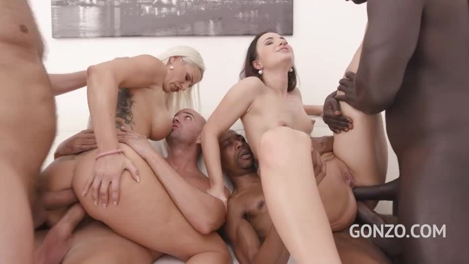 Assfucked together by 5 huge cocks with double anal (LegalPorno / Gonzo) Screenshot 4