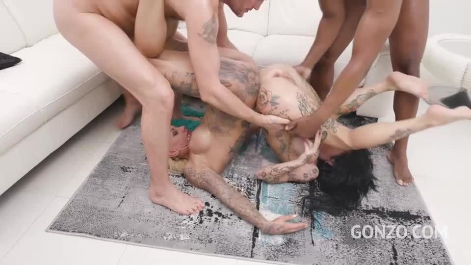 Tattooed sluts double anal fucked together in hot orgy (LegalPorno / Gonzo) Screenshot 7