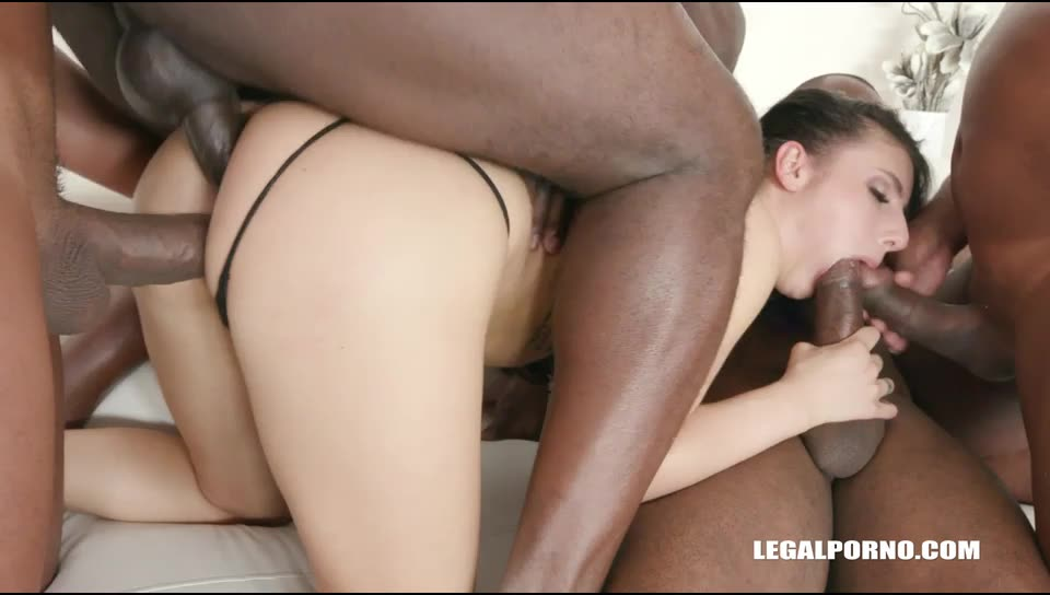 [LegalPorno] Young cutie is coming to face four black bulls and gets double anal - Nelly Kent (GangBang)/(Interracial)