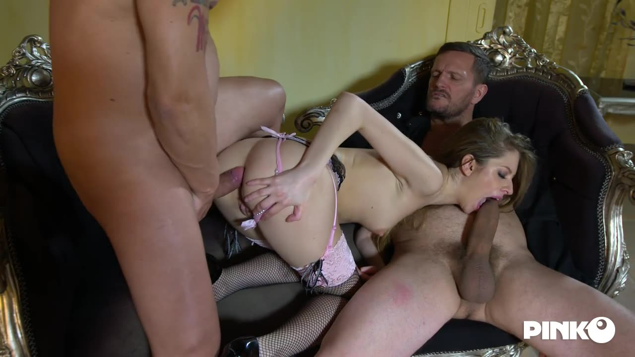 [PinkoClub] Horny And Slut Enjoys With Two Cocks - Rebecca Volpetti (DP)/(High Heels)