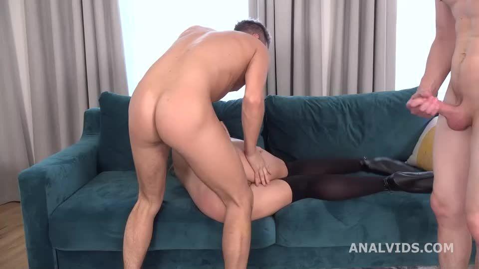 My First DP, 2 dicks with Balls Deep Anal, DP, Gapes and Swallow (LegalPorno) Screenshot 6