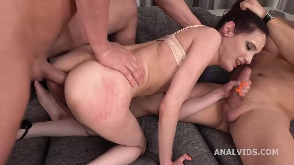 DP Gapes and Pee DP with Big Gapes, Balls Deep Action, Pee and Cum in Mouth (LegalPorno) Screenshot 1