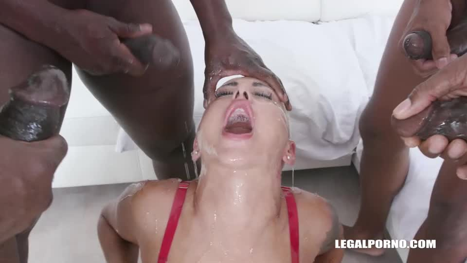 [LegalPorno / AnalVids] Enjoys african champagne and gets 2 cocks in the ass with anal fisting - Lolly Glam, Amber Deep (GangBang)/(Interracial)