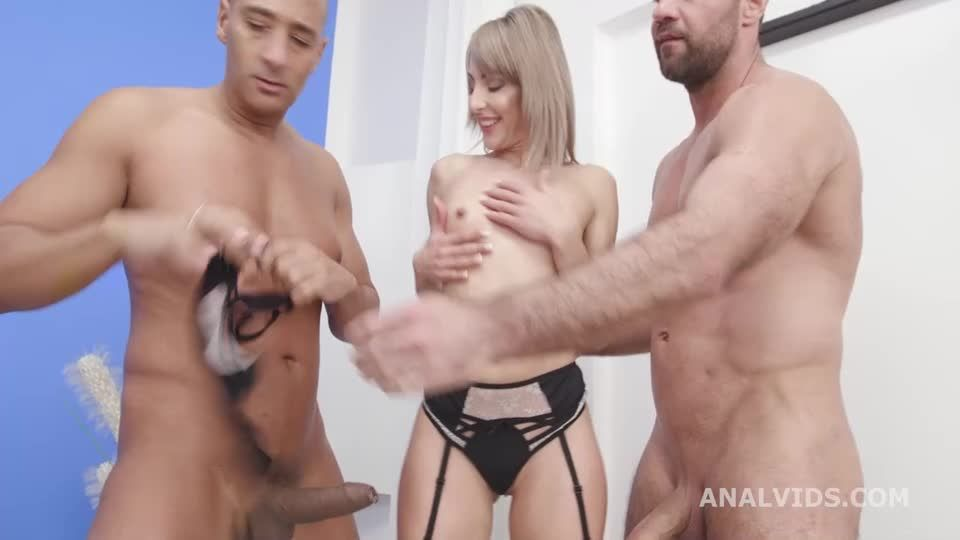 Goes wet Vs 2 Big Dicks with Balls Deep Anal, DAP, Gapes, Pee Drink, Farts and Swallow (LegalPorno / AnalVids) Screenshot 0