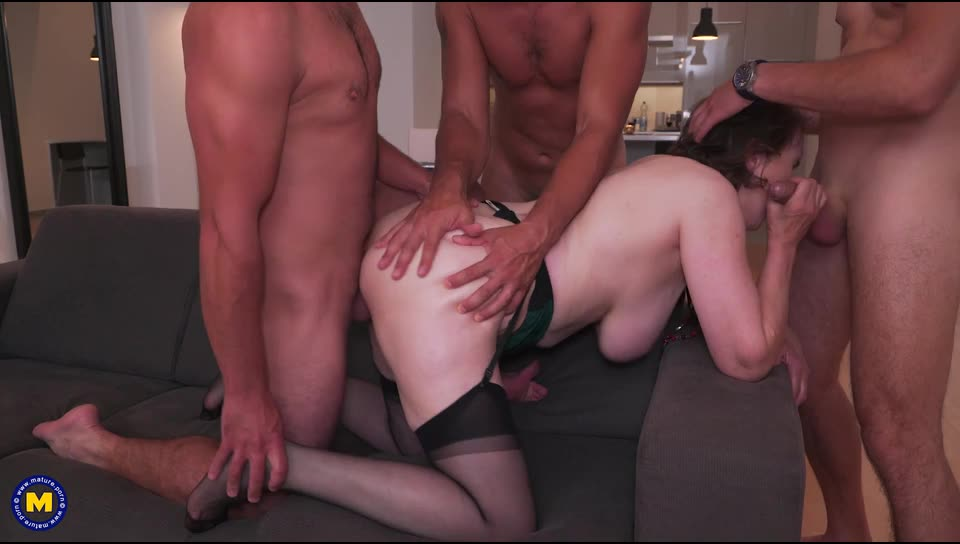 [Mature] She invited three guys for a naughty DP evening - Allison (DP)/(MILF)