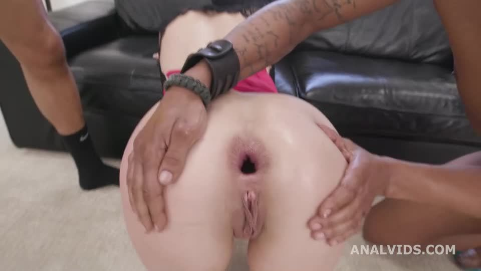2 BBC, Hot Cz Brunette First Interracial DP with Gapes and Creampie Swallow (LegalPorno / AnalVids) Screenshot 2