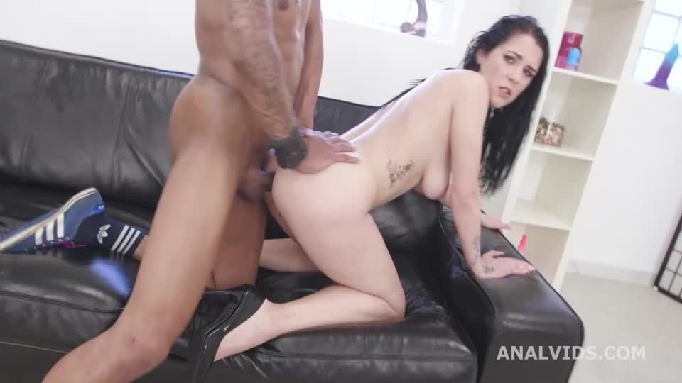 2 BBC, Hot Cz Brunette First Interracial DP with Gapes and Creampie Swallow (LegalPorno / AnalVids) Screenshot 9