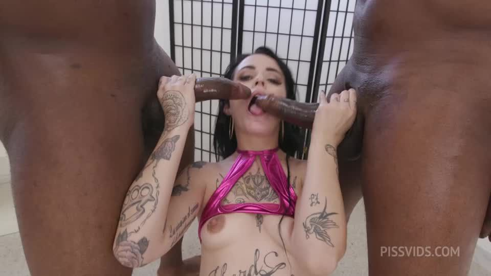 My first DP Goes Wet, Balls Deep Anal, DP, Big Gapes, Pee Drink, Creampie Swallow, Cum in Mouth (LegalPorno / PissVids) Screenshot 3