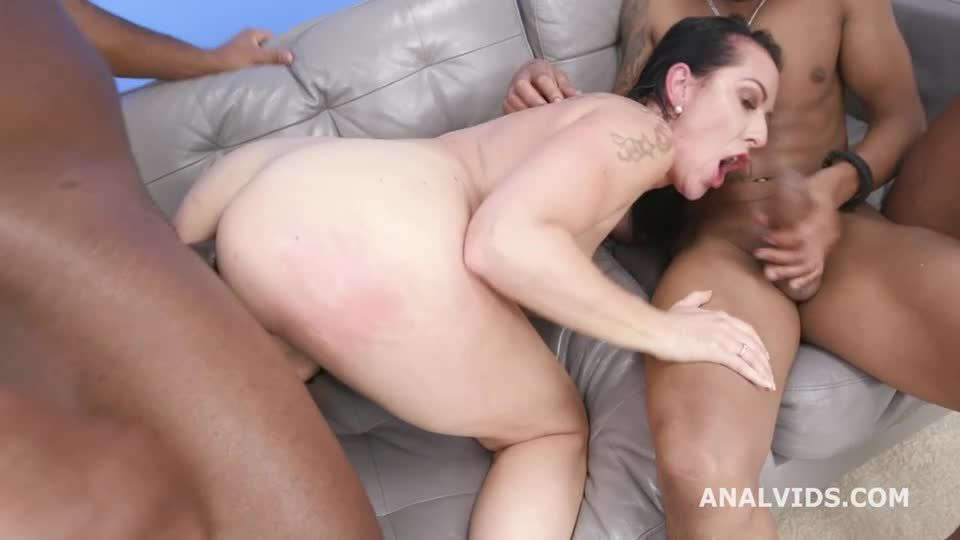 Gets Squirted with 3 BBC for Balls Deep Anal, DAP, Gapes, Swallow and Facial (LegalPorno / AnalVids) Screenshot 4