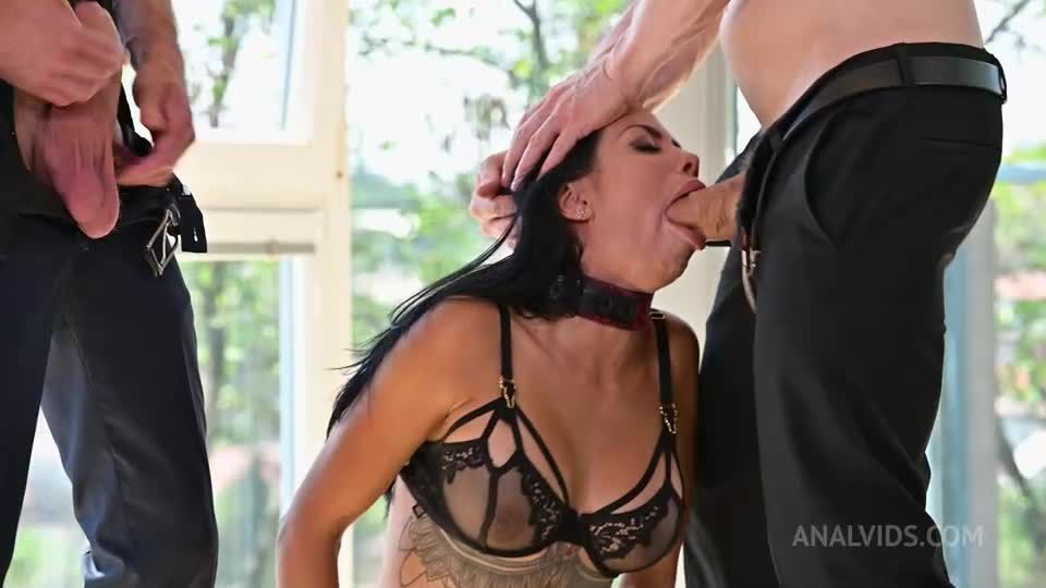 Submissive Nympho Whore Bound, Whipped & DPd in BDSM Threesome (PornWorld / AnalVids) Screenshot 2