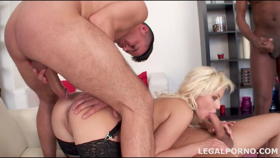 [LegalPorno] Nataly first double anal with multiple swallow. Gape and broken ass - Nataly (GangBang)/(Stockings)