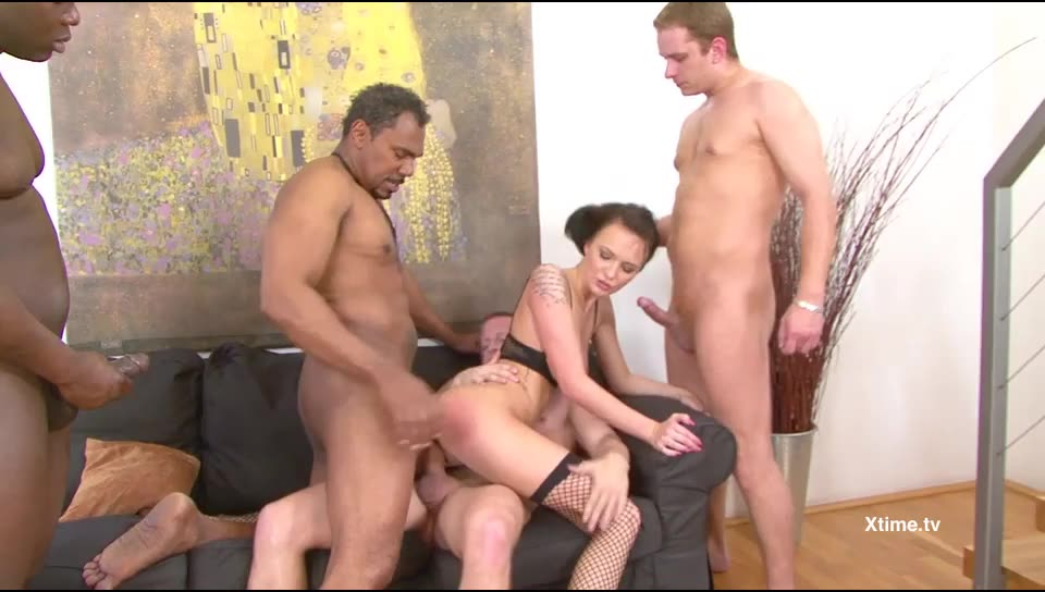 [XTime] Interracial gang bang for a hot brunette - Belle Claire (GangBang)/(Natural Tits)