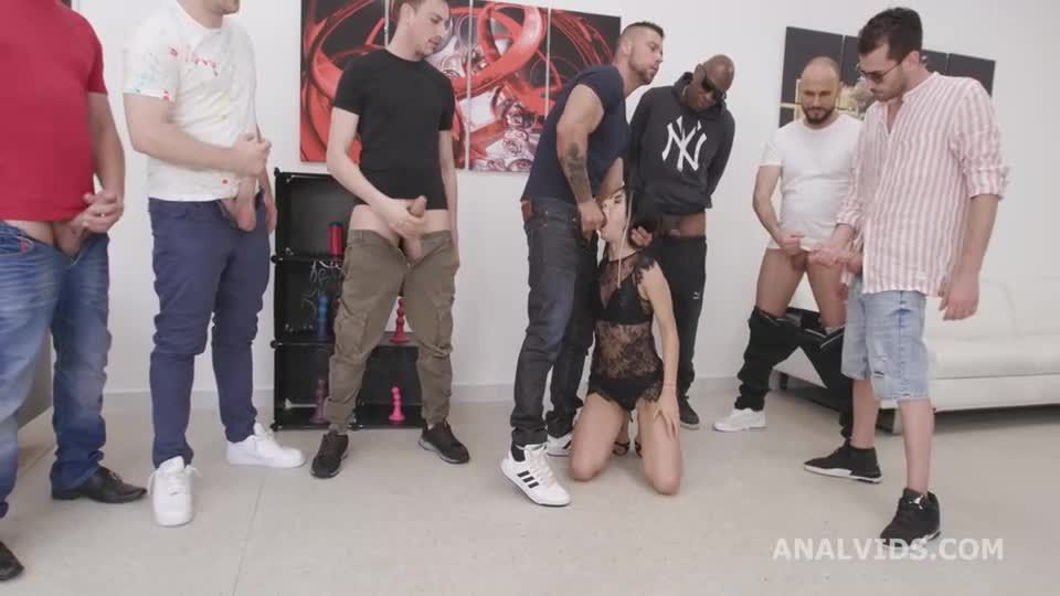 Double Anal GangBang goes Wet, DAP, Rough Sex, Big Gapes, Pee Drink, Cum in Mouth, Swallow (LegalPorno / AnalVids) Screenshot 0