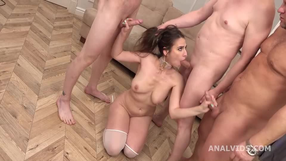 My First DP goes wet, Balls Deep Anal, DP, Pee, Gapes and Swallow (LegalPorno / AnalVids) Screenshot 5