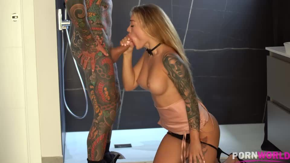 Tattooed Nympho DPd by Two Fuck Buddies While Her Husband is Away GP2046 (PornWorld) Screenshot 2