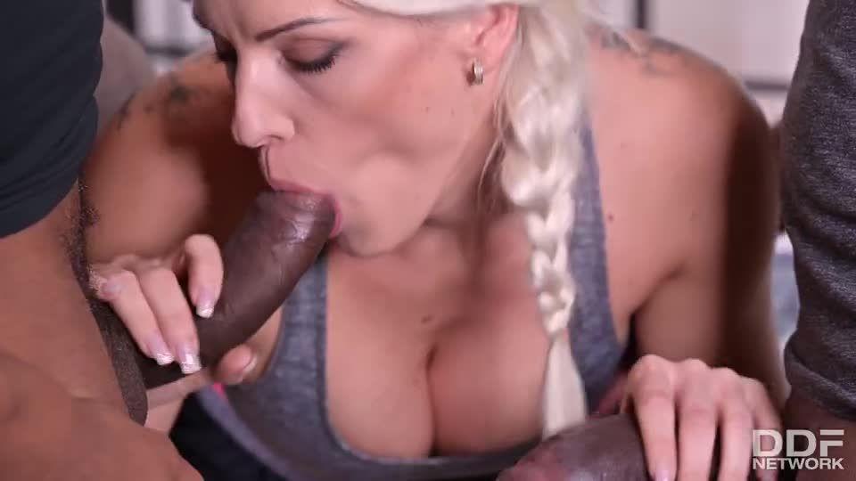 Well-Endowed Czech Blonde Gets 2 BBCs At Once (HandsOnHardcore / DDFNetwork / PornWorld) Screenshot 3