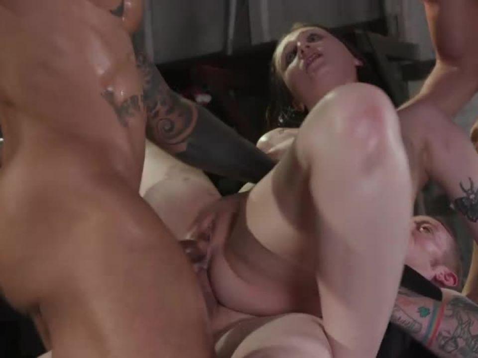 Filthy whore gets her slutty trash holes stuffed airtight (BoundGangBangs / Kink) Screenshot 8