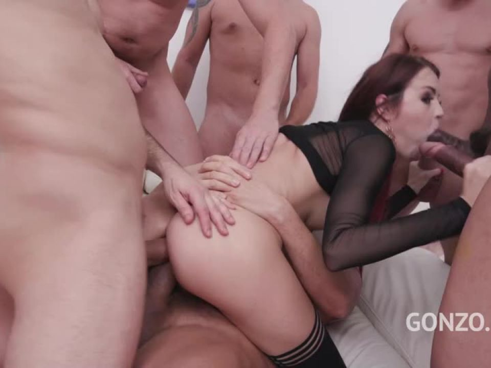 Assfucked by 1, 2, 3, 4 guys and then gangbanged by all 10 of them DAP Creampie (LegalPorno) Screenshot 7
