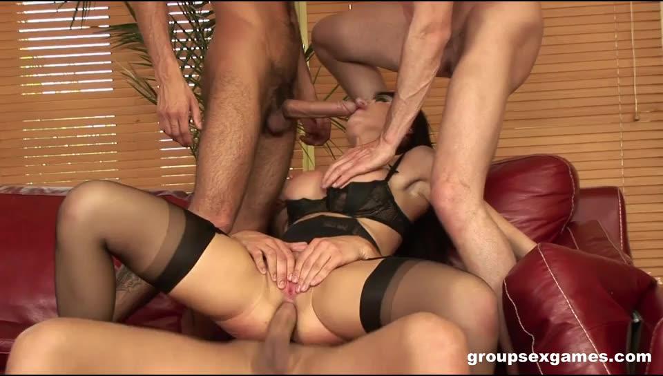 [GroupSexGames] Busty Slut Banged By 3 Cocks - Eva Karera (DP)/(3M1F)